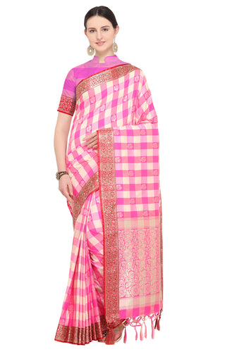 Bhelpuri Pink Katan Silk Woven Multicolor Checks Saree With Blouse Piece