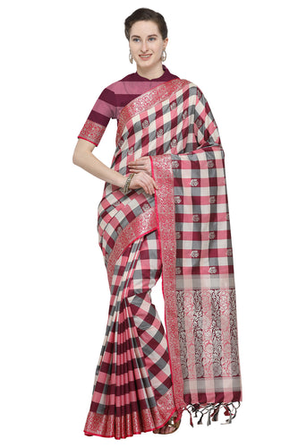 Bhelpuri Maroon Katan Silk Woven Multicolor Checks Saree With Blouse Piece