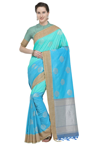Bhelpuri Turquoise Blue Katan Silk Woven Half N Half Saree With Blouse Piece