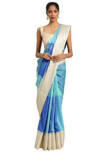 Bhelpuri Multicolor Katan Silk Woven Multi-colorblock Saree With Blouse Piece