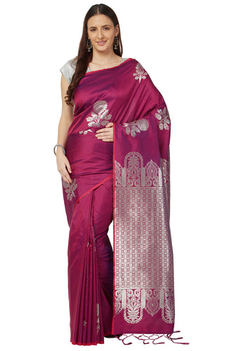 Bhelpuri Wine Katan Silk Woven Kanjivaram Saree With Blouse Piece