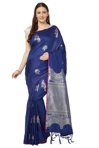 Bhelpuri Royal Blue Katan Silk Woven Kanjivaram Saree With Blouse Piece