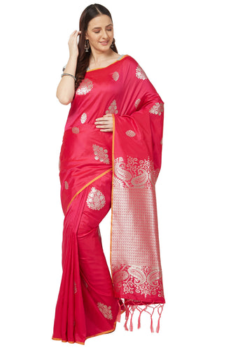 Bhelpuri Pink Katan Silk Woven Kanjivaram Saree With Blouse Piece