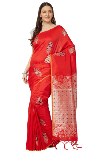 Bhelpuri Red Katan Silk Woven Kanjivaram Saree With Blouse Piece