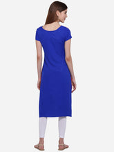 Load image into Gallery viewer, Admyrin Red & Blue American Crepe Straight Digitally Printed Kurti