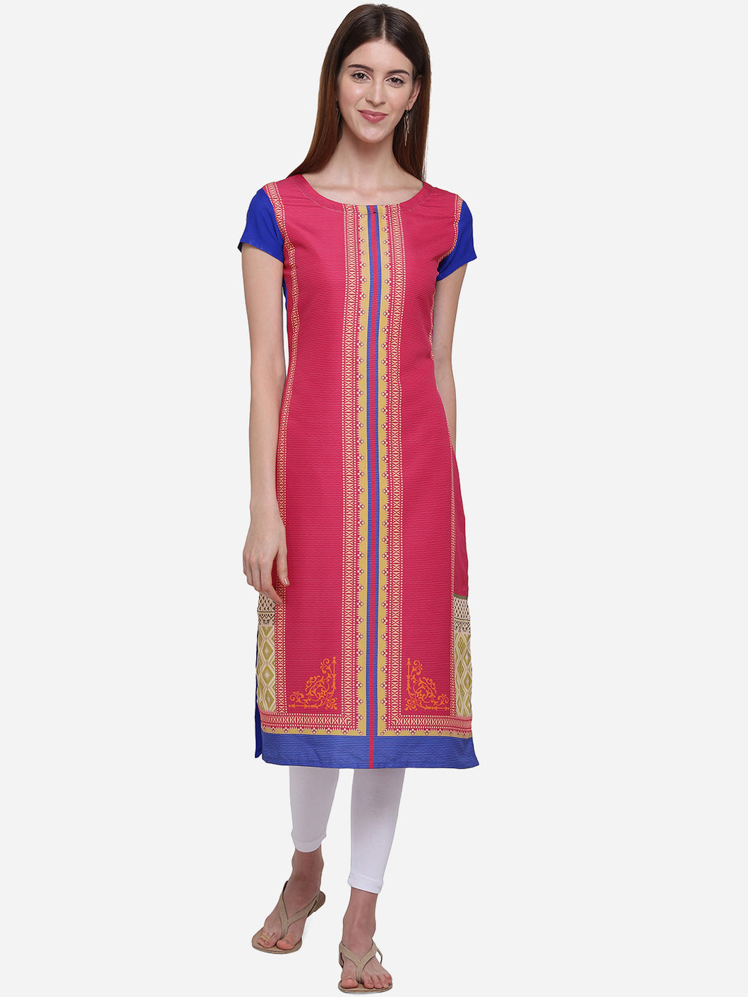Admyrin Red & Blue American Crepe Straight Digitally Printed Kurti