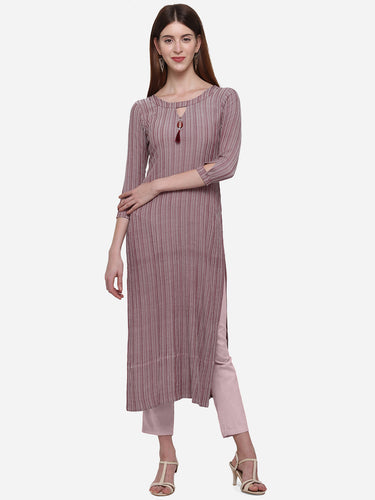 Admyrin Magenta Viscose Cotton Straight Fancy Printed Kurti