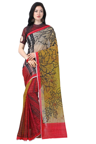Bhelpuri MultiColor Chanderi Printed Traditional Saree with Blouse Piece
