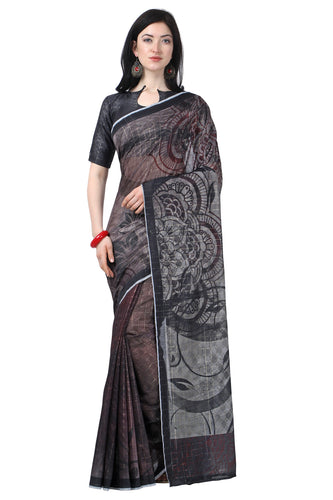 Bhelpuri Black Chanderi Printed Traditional Saree with Blouse Piece