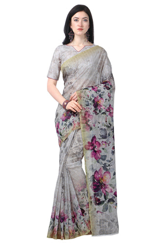 Bhelpuri Grey Chanderi Printed Traditional Saree with Blouse Piece