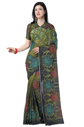 Bhelpuri MultiColor Linen Cotton Printed Traditional Saree with Blouse Piece