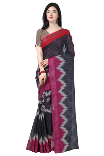 Bhelpuri Black Linen Cotton Printed Traditional Saree with Blouse Piece