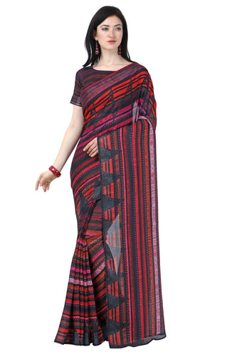 Bhelpuri Black & Red Linen Cotton Printed Traditional Saree with Blouse Piece