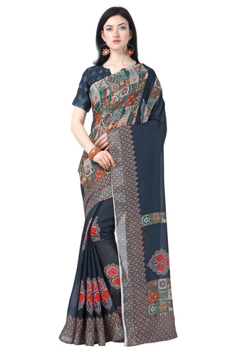 Bhelpuri Grey Tussar Silk Printed Traditional Saree with Blouse Piece