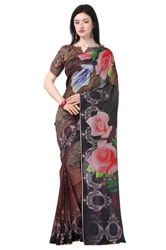 Bhelpuri MultiColor Tussar Silk Printed Traditional Saree with Blouse Piece