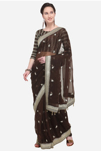 Bhelpuri Brown Transparent Georgette Saree