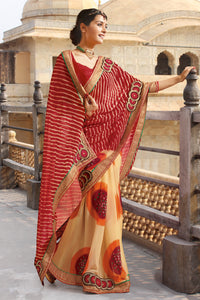 Bhelpuri Beige and Red Georgette Leheriya Saree with Blouse Piece