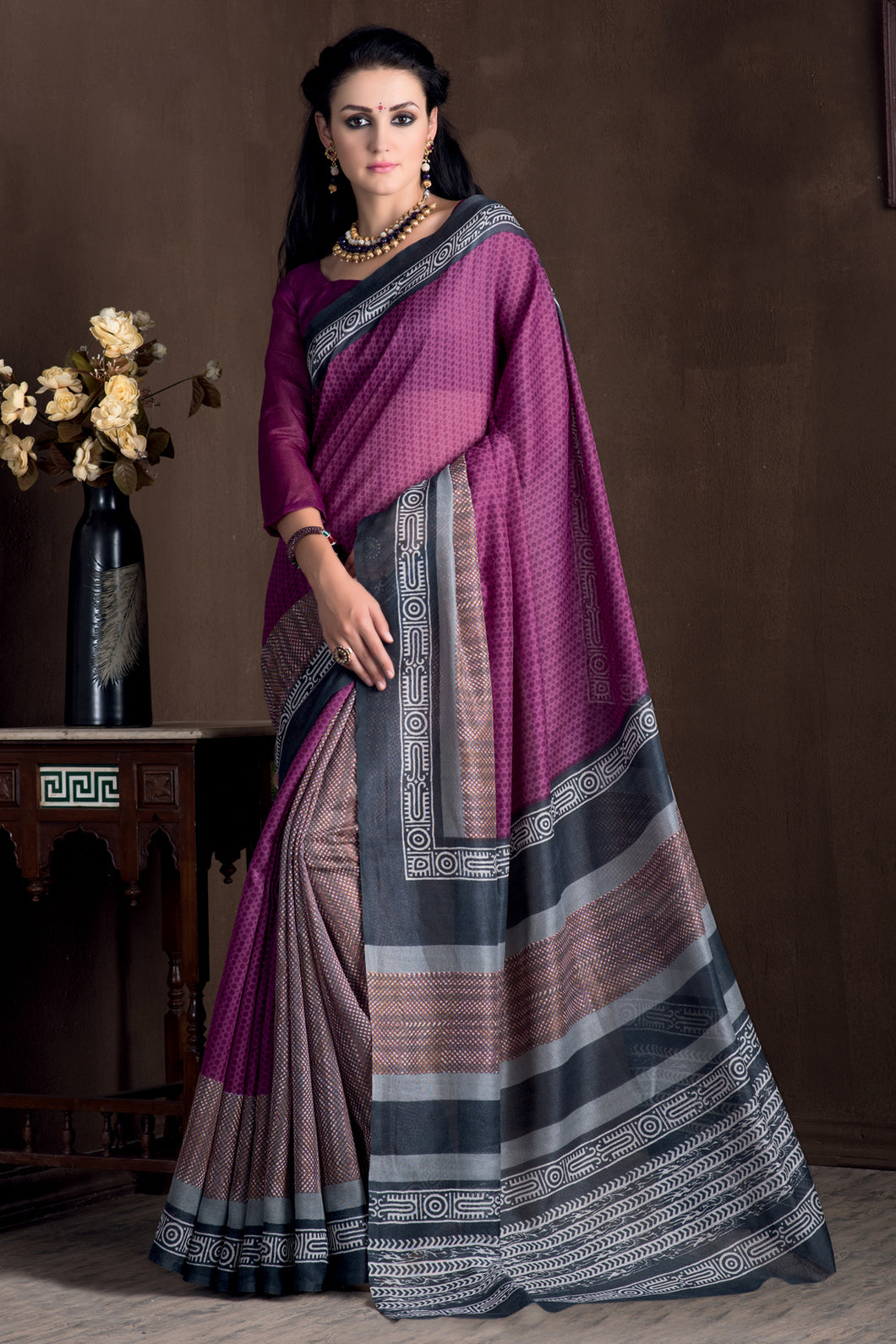 Bhelpuri Multi Colour Banglori Silk Saree with Blouse Piece