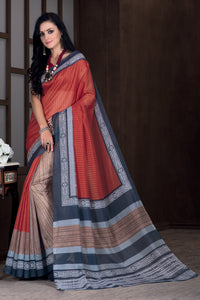 Bhelpuri Multi Colour Banglori Silk Saree with Maroon Blouse Piece