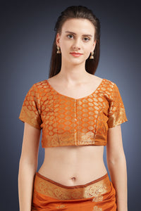 Bhelpuri Orange Soft Silk Woven Saree with Orange Blouse Piece