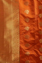 Load image into Gallery viewer, Bhelpuri Orange Soft Silk Woven Saree with Orange Blouse Piece