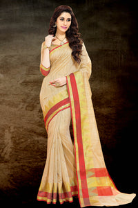 Bhelpuri Beige Chanderi Golden Border Saree with Blouse Piece