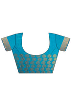 Load image into Gallery viewer, Bhelpuri Blue Dupioni Silk Saree with Blouse Piece