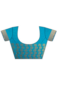 Bhelpuri Blue Dupioni Silk Saree with Blouse Piece