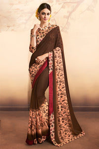 Bhelpuri Brown Georgette Saree with Blouse Piece