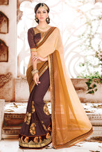 Load image into Gallery viewer, Bhelpuri Brown and Beige Georgette Embroidered Saree with Blouse Piece