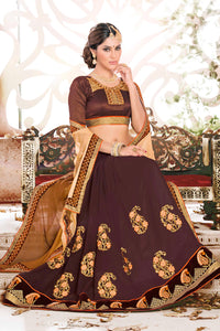 Bhelpuri Brown and Beige Georgette Embroidered Saree with Blouse Piece