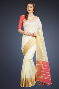 Bhelpuri Cream Cotton Silk Woven Saree with Tassels and Pink Cotton Silk Blouse Piece