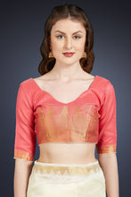 Load image into Gallery viewer, Bhelpuri Cream Cotton Silk Woven Saree with Tassels and Pink Cotton Silk Blouse Piece