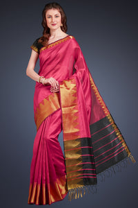 Bhelpuri Dark Pink Cotton Silk Woven Saree with Tassels and Black Cotton Silk Blouse Piece