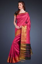 Load image into Gallery viewer, Bhelpuri Dark Pink Cotton Silk Woven Saree with Tassels and Black Cotton Silk Blouse Piece
