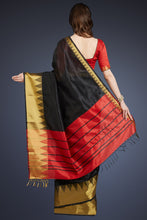 Load image into Gallery viewer, Bhelpuri Black Cotton Silk Woven Saree with Tassels and Red Cotton Silk Blouse Piece