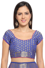 Load image into Gallery viewer, Bhelpuri Blue Soft Silk Woven Saree with Blue Blouse Piece