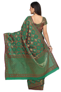 Bhelpuri Green Tussar Silk Patola Saree with Green Blouse Piece
