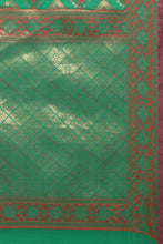 Load image into Gallery viewer, Bhelpuri Green Tussar Silk Patola Saree with Green Blouse Piece