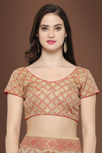 Load image into Gallery viewer, Bhelpuri Beige and Red Tussar Silk Patola Saree with Blouse Piece