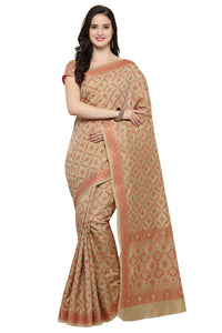 Bhelpuri Beige and Red Tussar Silk Patola Saree with Blouse Piece