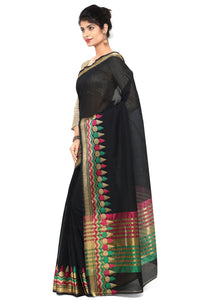 Bhelpuri Black Chanderi Cotton Zari Woven Saree with Blouse Piece