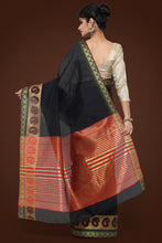 Load image into Gallery viewer, Bhelpuri Black Chanderi Cotton Saree with Red Blouse Piece