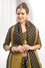 Load image into Gallery viewer, Bhelpuri Black Chanderi Cotton Woven Saree with Blouse Piece