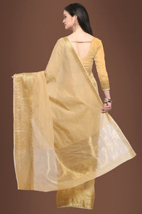 Bhelpuri Beige Chanderi Cotton Woven Saree with Beige Blouse Piece