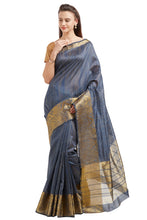 Load image into Gallery viewer, Bhelpuri Grey Cotton Silk Woven Saree with Cotton Blouse Piece