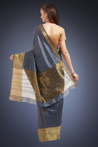 Bhelpuri Grey Cotton Silk Woven Saree with Cotton Blouse Piece