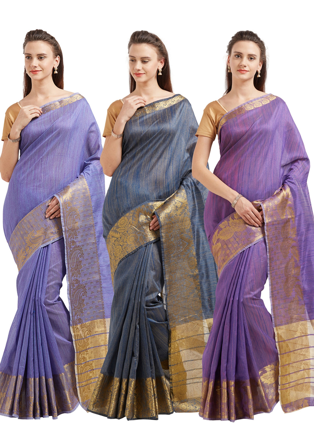 Bhelpuri Cotton Silk Zari Woven Saree with Blouse Piece (Pack of 3 -Purple ,Violet ,Grey)