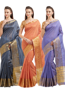 Bhelpuri Cotton Silk Zari Woven Saree with Blouse Piece (Pack of 3 -Violet ,Grey ,Peach)