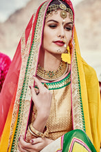 Load image into Gallery viewer, Bhelpuri Multi Colour Georgette Chiffon Bandhej Saree with Gold Blouse Piece